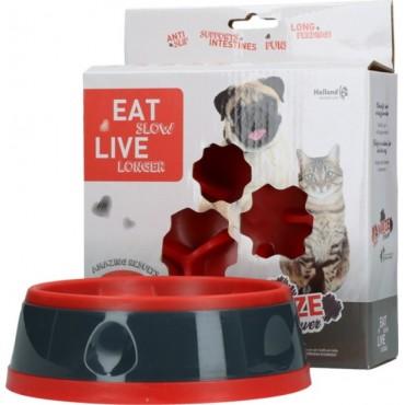 Αντιλαιμαργικό μπολ eat slow live longer red