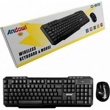 Ασύρματο Πληκτρολόγιο & Ποντίκι - Wireless Keyboard Mouse Andowl q-805