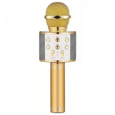 Ασύρματο bluetooth μικρόφωνο με ενσωματωμένο ηχείο και karaoke χρυσό WSTER WS-858