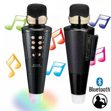 Ασύρματο Bluetooth ηχείο - καραόκε μικρόφωνο με USB -microsd- disco ball ws-2711 ροζ