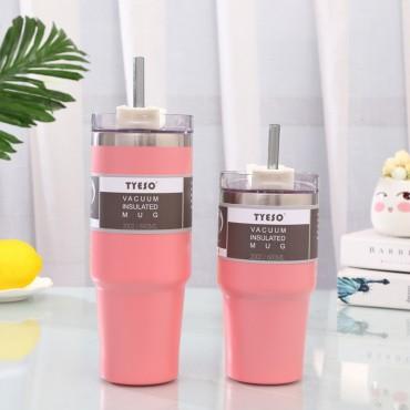 Μεταλλικός θερμός-ποτήρι tyeso ροζ 600ml