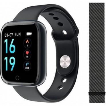 Smartwatch T80 (Μαύρο) + ΔΩΡΟ Ανταλλακτικό Μεταλλικό Λουράκι (Μαύρο)