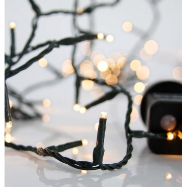Λαμπάκια χριστουγεννιάτικα 100 Led με προγράμματα Πράσινο Καλώδιο, Θερμό Λευκό Led