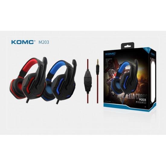 Ακουστικά Stereo KOMC K4 Mε Μικρόφωνο και Διπλό Κονέκτορα 3.5 mm - κόκκινο