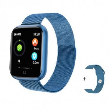 Smartwatch T80  + ΔΩΡΟ Ανταλλακτικό Μεταλλικό Λουράκι (μπλε)