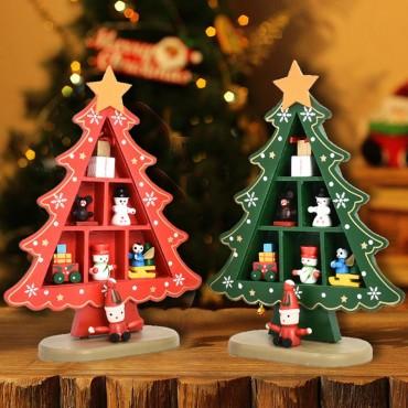Χριστουγεννιάτικο ξύλινο διακοσμητικό δέντρο με στολίδια 20cm