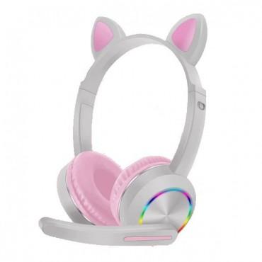 Ενσύρματα παιδικά ακουστικά bluetooth με φωτισμό akz-020 grey-pink