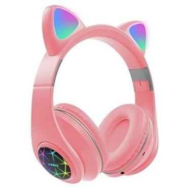 Ασύρματα Ακουστικά Bluetooth 5.0 παιδικά-εφηβικά Wireless cat ear m3 (pinkk)