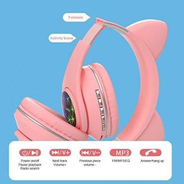Ασύρματα Ακουστικά Bluetooth 5.0 παιδικά-εφηβικά Wireless cat ear m3 (black)