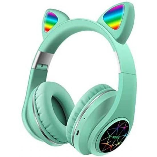 Ασύρματα Ακουστικά Bluetooth 5.0 παιδικά-εφηβικά Wireless cat ear m3 (green)