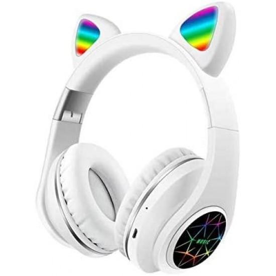 Ασύρματα Ακουστικά Bluetooth 5.0 παιδικά-εφηβικά Wireless cat ear m3 (white)