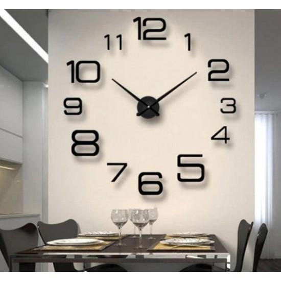 Μεγάλο τρισδιάστατο ρολόι τοίχου black