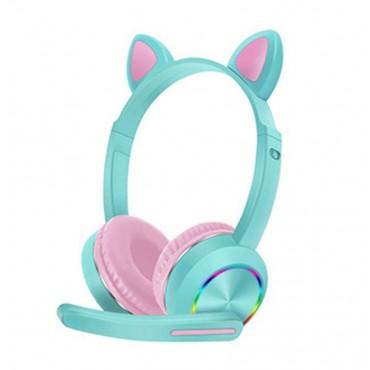 Ενσύρματα παιδικά ακουστικά  bluetooth με φωτισμό akz-020 green-pink