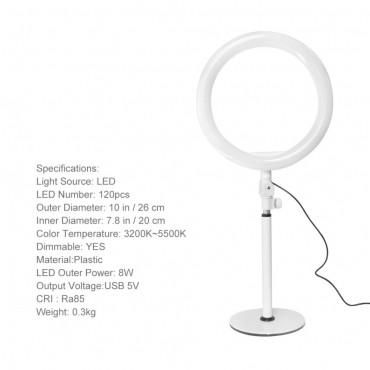 Επαγγελματικό Φωτογραφικό Φωτιστικό Δαχτυλίδι Ring Lamp Light LED USB 20cm με τρίποδο