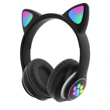 Ασύρματα Ακουστικά Bluetooth 5.0 παιδικά-εφηβικά Wireless cat ear 028 (black)