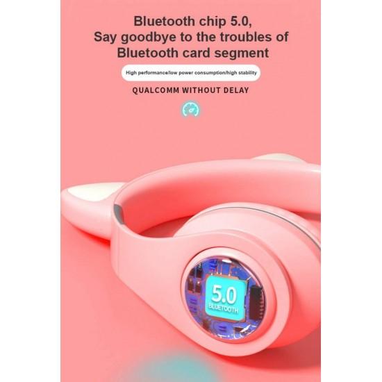 Ασύρματα Ακουστικά Bluetooth 5.0 παιδικά-εφηβικά Wireless cat ear m3 (gold)