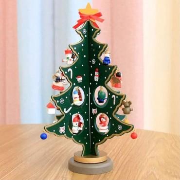 Χριστουγεννιάτικο ξύλινο διακοσμητικό δέντρο με στολίδια 30cm