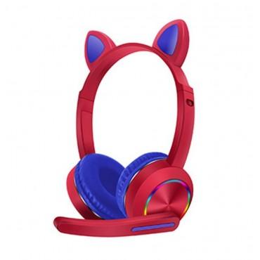 Ασύρματα παιδικά ακουστικά bluetooth με φωτισμό akz-k23 red