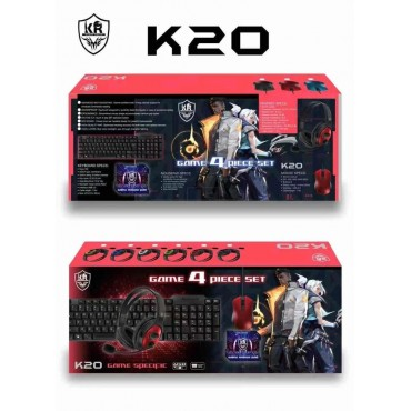 Game 4 set keyboard-mouse-headphones-mouse pad kr k20