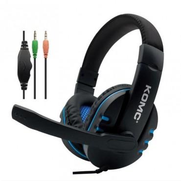 Ακουστικά Stereo KOMC K4 Mε Μικρόφωνο και Διπλό Κονέκτορα 3.5 mm - Μπλε