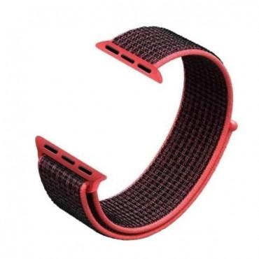 Υφασμάτινο λουράκι για smartwatch μαύρο-φουξ 38-40mm