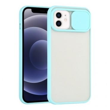 Θήκη διαφανη με slider για την camera για iphone 7/8 sky blue