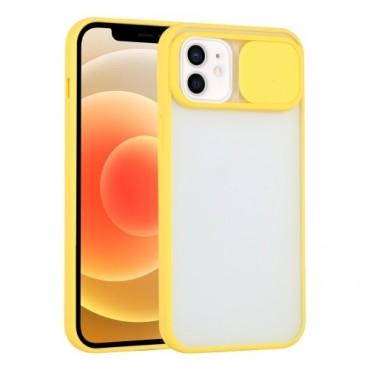 Θήκη διαφανη με slider για την camera για iphone 7/8 yellow