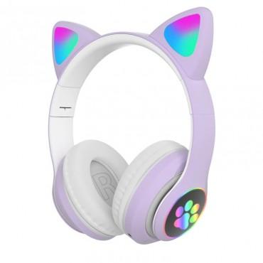 Ασύρματα Ακουστικά Bluetooth 5.0 παιδικά-εφηβικά Wireless cat ear stn-28 (purple)