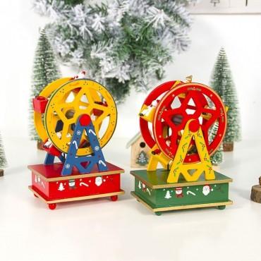 Χριστουγεννιάτικο ξύλινο διακοσμητικό ρόδα με μουσική