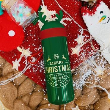 Μεταλλικός θερμός-ποτήρι 330ml christmas green