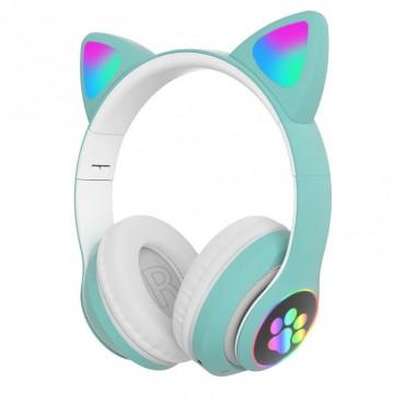 Ασύρματα Ακουστικά Bluetooth 5.0 παιδικά-εφηβικά Wireless cat ear stn-28 (green)