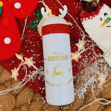 Μεταλλικός θερμός-ποτήρι 330ml christmas white