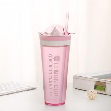 Ποτήρι με στίφτη ροζ 600ml
