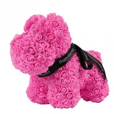Σκυλάκι Από Τεχνητά Τριαντάφυλλα  ροζ 25 cm