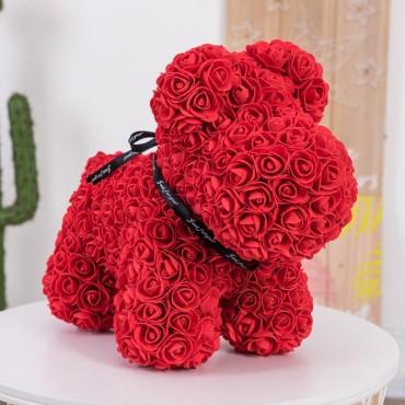 Σκυλάκι Από Τεχνητά Τριαντάφυλλα  κόκκινο 25 cm