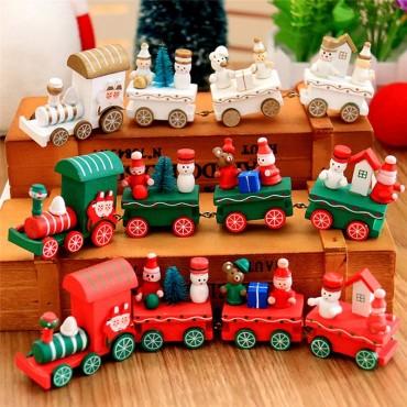 Χριστουγεννιάτικο ξύλινο διακοσμητικό τρένο με στολίδια 20cm