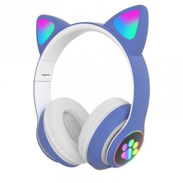 Ασύρματα Ακουστικά Bluetooth 5.0 παιδικά-εφηβικά Wireless cat ear stn-28 (blue)