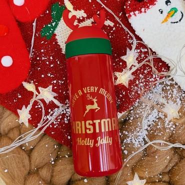 Μεταλλικός θερμός-ποτήρι 330ml christmas red