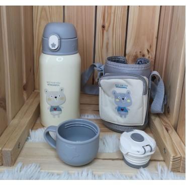 Μεταλλικός θερμός-παγούρι με ποτήρι παιδικός 400ml bear