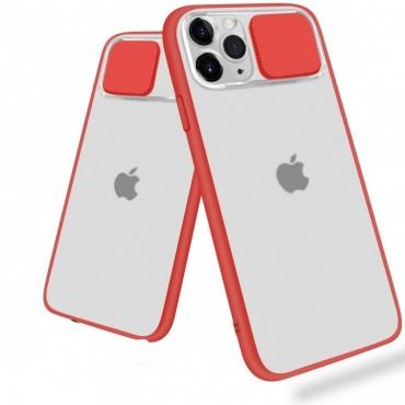 Θήκη διαφανη με slider για την camera για iphone 7/8 red
