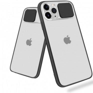 Θήκη διαφανη με slider για την camera για iphone 7/8 black