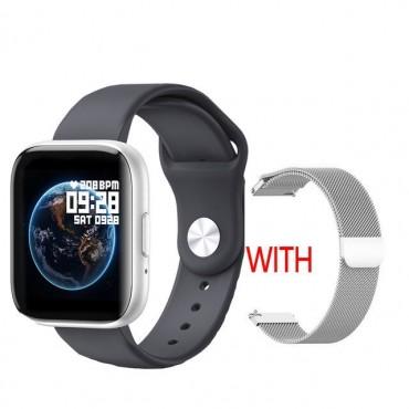 Smartwatch T99 bluetooth κλήσεις + ΔΩΡΟ Ανταλλακτικό Μεταλλικό Λουράκι (μαύρο ασημί)