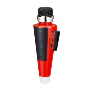 Ασύρματο Bluetooth ηχείο - καραόκε μικρόφωνο με USB -microsd- disco ball ws-2711 red