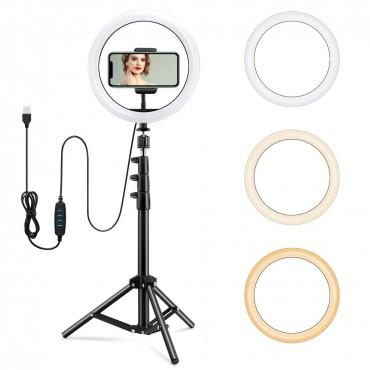 Επαγγελματικό Φωτογραφικό Φωτιστικό Δαχτυλίδι Ring Lamp Light LED USB 33cm με τρίποδο