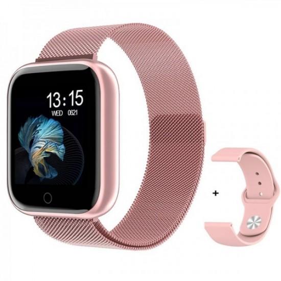 Smartwatch T80 (Ροζ) + ΔΩΡΟ Ανταλλακτικό Μεταλλικό Λουράκι (Ροζ)