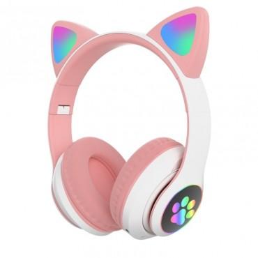 Ασύρματα Ακουστικά Bluetooth 5.0 παιδικά-εφηβικά Wireless cat ear stn-28 (pink)