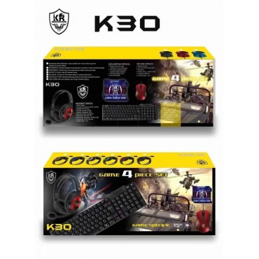 Game 4 set keyboard-mouse-headphones-mouse pad kr k30