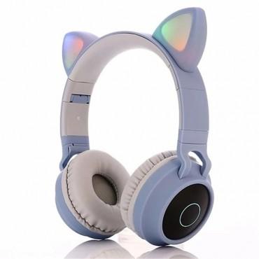 Ακουστικά παιδικά Bluetooth 5 Wireless cat ear 028 (μπλε)