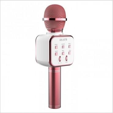 Ασύρματο Bluetooth ηχείο - καραόκε μικρόφωνο με USB ds-878 ροζ