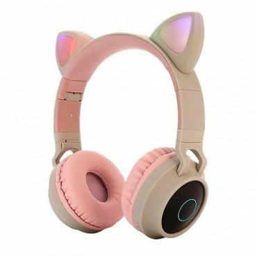 Ακουστικά παιδικά Bluetooth 5 Wireless cat ear 028 (ροζ)